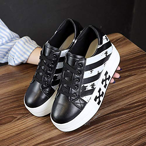 Sneakers Creepers ZHZNVX Fall White Shoes PU Comfort Polyurethane Round Toe Black Women's White prw0TZq0Y