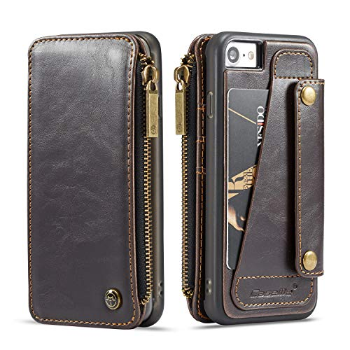 Leather Case for Apple iPhone 8 7,Brown Holder 4.7inch Full Protection 4 Card Slot 2 Money Pockets(ID Card, Credit Card,Debit Cards,Cash) Removable Design Accurate Cutouts Defender Girls Boys ()