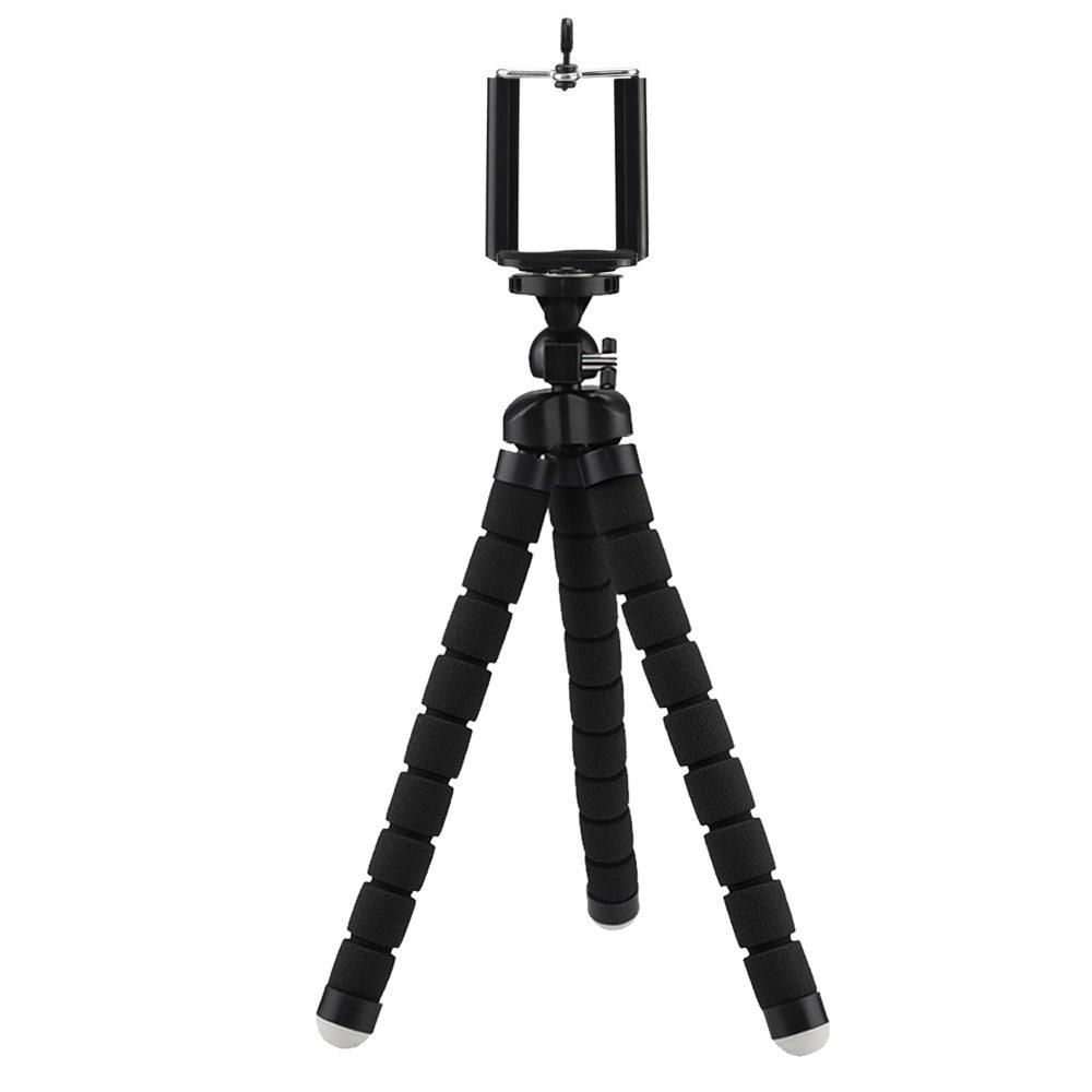 Kobwa柔軟なポータブルミニ三脚調節可能な三脚スタンドホルダーfor GoPro携帯電話カメラwithユニバーサルクリップ  ブラック B07518R89Y