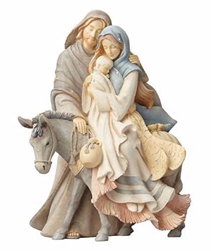 - Foundations (4058697) Holy Family with Donkey Stone Resin Figurine, 9.45