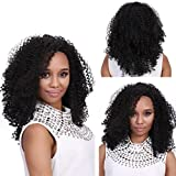 DDLBiz Women Medium Long Black Curly Hairstyle Synthetic Hair Wigs False Hair