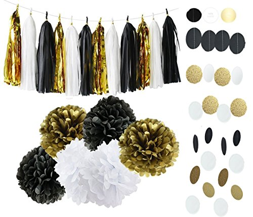 Black White Gold Party Decorations Tissue Paper Pom Pom Paper Tassel Garland Paper Circle Garland for Great Gatsby Decorations/ New Year's Eve Party /Birthday Decorations/Bridal Shower (Great Gatsby Birthday)