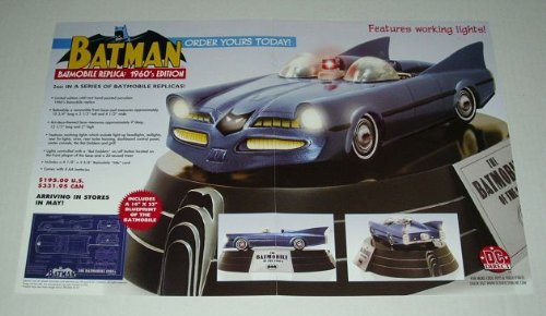 Dc Comics Batman poster showing the 1960's Edition Batmobile replica toy by Dc Direct.