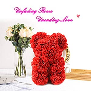 CapsA Bubble Rose Bear Flower Teddy 9 Inch Gifts for Wedding Birthday Valentine Mother's Day Valentine's Day 63