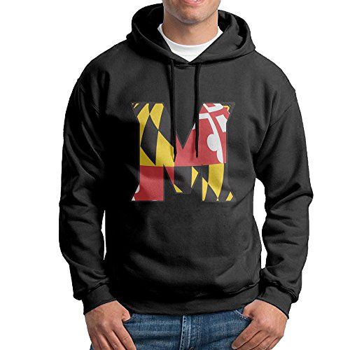 FUOALF Mens Pullover University Of M Logo Maryland College Park 02 Hooded Sweatshirt Black M