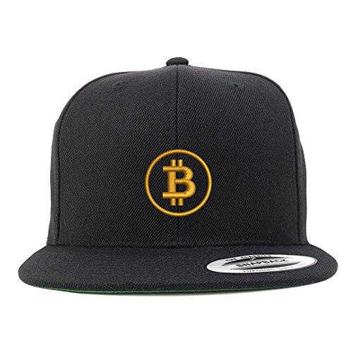 Trendy Apparel Shop Bitcoin Embroidered Flat Bill Snapback Baseball Cap - Black