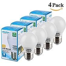 ChiChinLighting® 4-Pack E26 12v LED Bulb 7 Watts AC DC Compatible 12 Volt LED Lights 500lm RV Camper Marine Low Voltage LED 12v Light Bulb