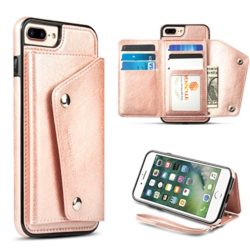 for iPhone 8 Plus,iPhone 7 Plus Wallet Case, WenBelle Leather Case with Credit Card Holder Slot & lanyar,Double Magnetic Clasp and Durable Case for Apple iPhone 7 Plus/8 Plus 5.5 -