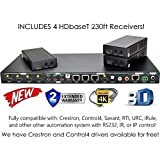4x4 HDbaseT 4K MATRIX SWITCHER with 3 Receivers (CAT5e or CAT6) HDMI HDCP2.2 HDTV ROUTING SPDIF AUDIO CONTROL4 SAVANT HOME AUTOMATION (4x4 HDbaseT Matrix with 1 HDMI Output)