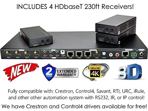 4×4 HDbaseT 4K MATRIX SWITCHER with 3 Receivers (CAT5e or CAT6) HDMI HDCP2.2 HDTV ROUTING SPDIF AUDIO CONTROL4 SAVANT HOME AUTOMATION (4×4 HDbaseT Matrix with 1 HDMI Output)