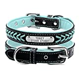 Leather Dog Collar - Didog Fashionable Leather Padded Custom Dog Collar,Hand-made Braided,Personalized Engraving ID Tag Collar for Small Medium Dogs and Cats,Blue,L Size