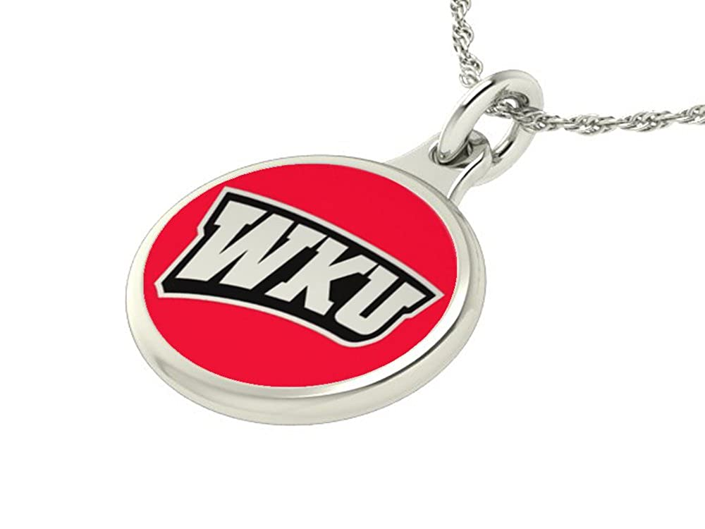 Solid Sterling Silver with Enamel Western Kentucky Hilltoppers Charm Pendant