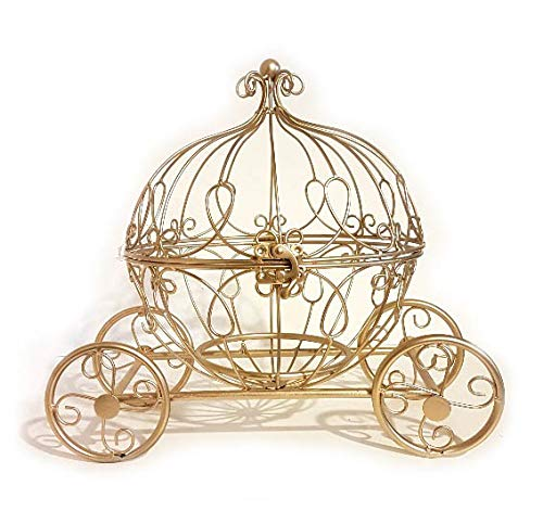 (Large Gold Metal Cinderella Pumpkin Carriage Centerpiece)