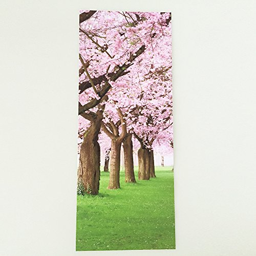 Renovation of the sticker bedroom door wooden door decal (cherry trees) 3D Door Decal creative door waterproof wall wallpaper (38.5200cm2pcs)