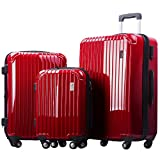 Merax Dreamy ABS+PC 3 Piece Expandable Luggage Set with TSA Lock (Red)