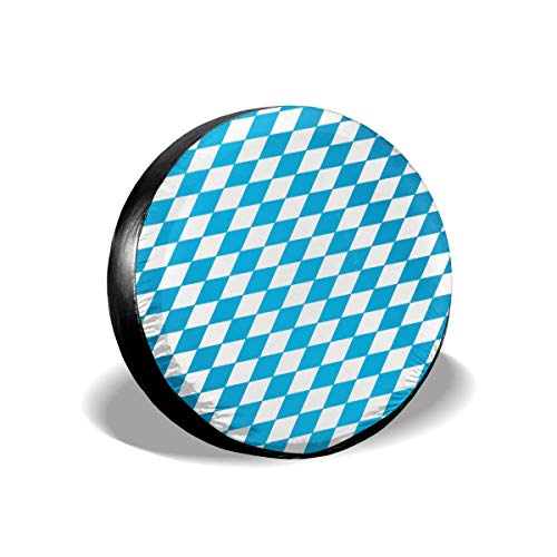 Blue and White Diamond Patterns Flag Leader Accessories Spare Tire Cover,Waterproof Dust-Proof(Fit 23-32 Inches)