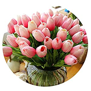 31pcs/lot PU Fake Artificial Flower Bouquet Real Touch Silk Tulip Flowers for Party Wedding Home Decoration Flower 19