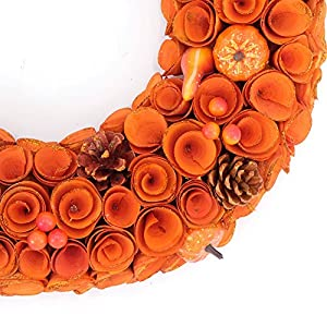 Idyllic 18'' Boxwood Round Wreath Yellow Orange Curled Roses Pumpkin Wreath for Front Door & Indoor, Home Décor for The Thanksgiving & Fall Season 3