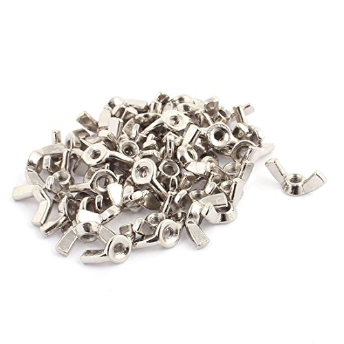 - Aexit 50Pcs M4 Accessories x 9.5mm Thread Stainless Steel Butterfly Wing Nuts Surveillance Camera Cables Silver Tone