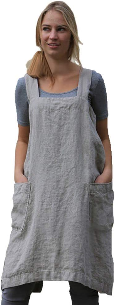 Vintage Aprons, Retro Aprons, Old Fashioned Aprons & Patterns Women's Pinafore Square Apron Baking Cooking Gardening Works Cross Back Cotton/Linen Blend Dress with 2 Pockets  AT vintagedancer.com
