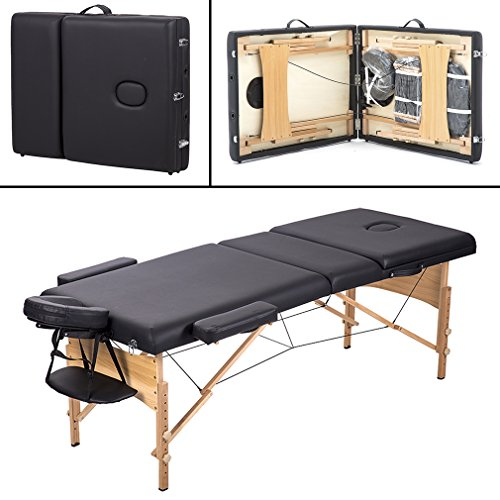BestMassage 3 Fold Portable Massage Table w/Free Carry Case Facial Spa Bed ()