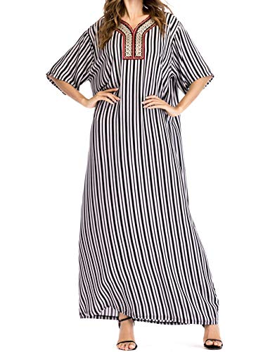 Qianliniuinc Women Cotton Elegant Arabic Dress - Kaftans Muslim Long Striped Embroidery Dubai Islamic Clothing Arab Gowns (Black,L)