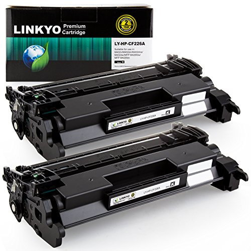 LINKYO Replacement for HP 26A CF226A Toner Cartridge (Black, 2-Pack)