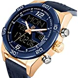 Analog Digital LED Dual Time Display Fog Blue Genuine Leather Band Alloy Electroplating Gold/Blue Watchcase Mens Watches