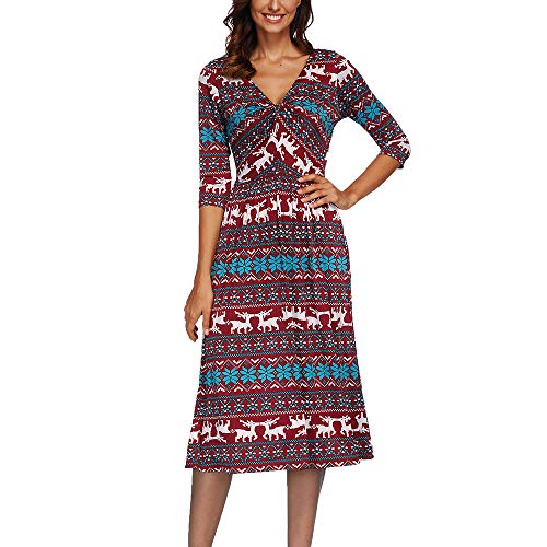 Tsmile Women Dress Boho Autumn Winter 3/4 Flare Sleeves Print Dress Bandage V-Neck Casual Loose ()