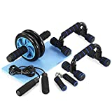 TOMSHOO 5-in-1 AB Wheel Roller Kit AB Roller Pro with Push-UP Bar, Hand Griper, Jump Rope and Knee Pad – Portable Equipment for Home Exercise, Workout (Upgraded Version)
