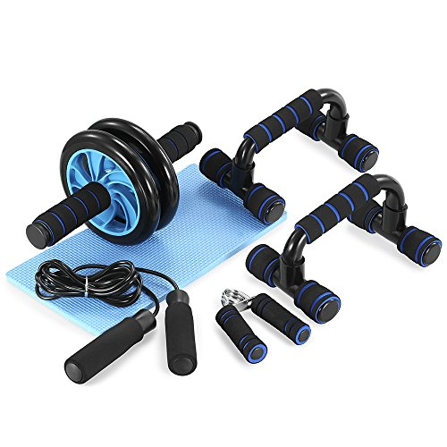 TOMSHOO 5-in-1 AB Wheel Roller Kit AB Roller Pro with Push-UP Bar, Hand Griper, Jump Rope and Knee Pad – Portable Equipment for Home Exercise, Workout Upgraded Version