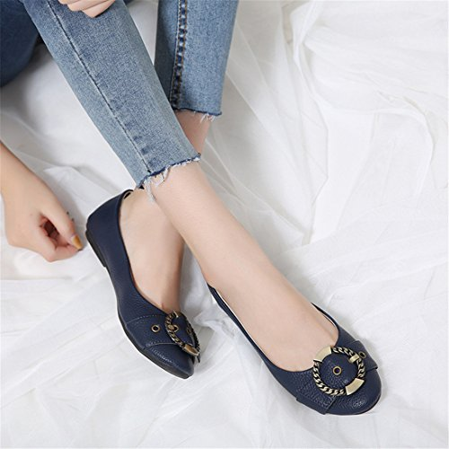 Womens Classic Casual Flats - Soft Slip On Shoes - Comfortable Footwear B168-2 Blue PrtEiNDw