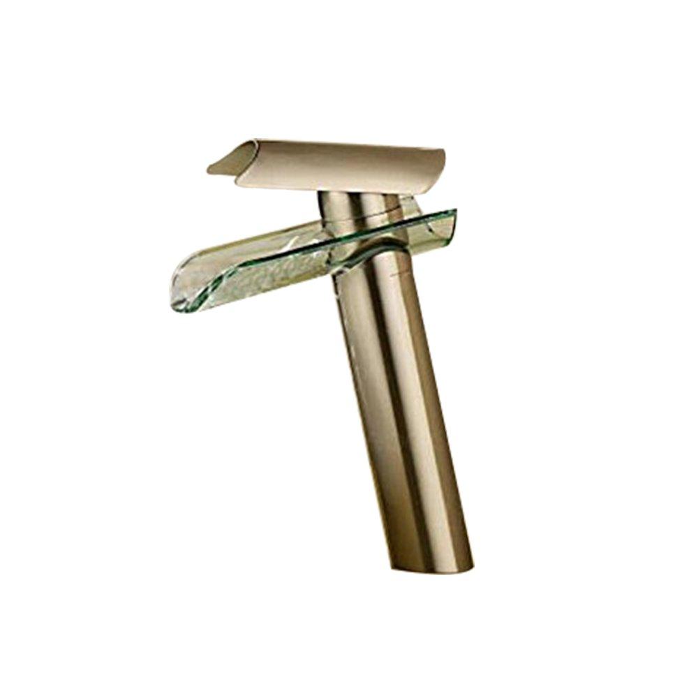 BWE Brass Bathroom Sink Basin Mixer Tap Waterfall Vessel Faucet, Nickel Brushed 2021N