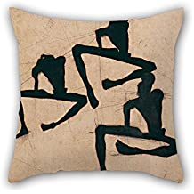 Artistdecor 18 X 18 Inches / 45 By 45 Cm Oil Painting Egon Schiele - Composition With Three Male Nudes Pillow Cases ,2 Sides Ornament And Gift To Dance Room,him,kids Girls,study Room,kids,car