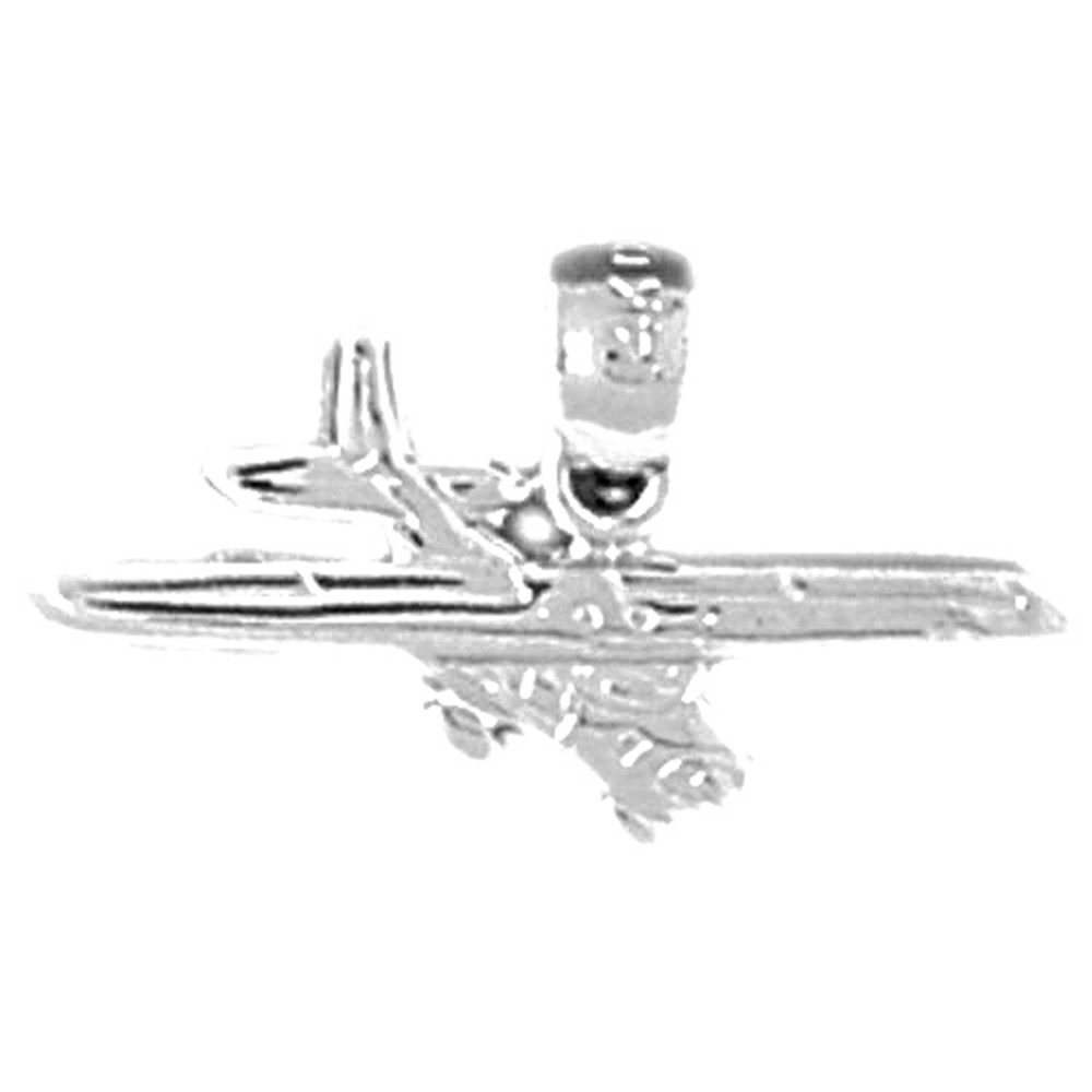 Jewels Obsession Airplane Necklace Rhodium-plated 925 Silver Airplane Pendant with 18 Necklace