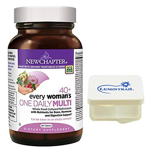 New Chapter Every Woman's One Daily 40+, Women's Multivitamin with Probiotics, Vitamin D3, B Vitamins - 48 Tablets Bundle with a Lumintrail Pill Case (New Chapter Every Womans One Daily Multi)