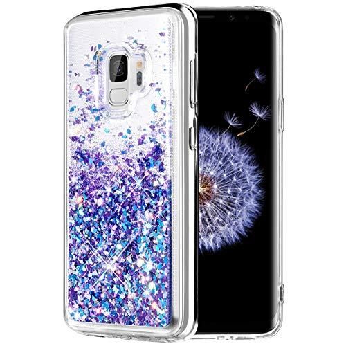 Caka Galaxy S9 Case, Galaxy S9 Glitter Case [Liquid Series] Luxury Fashion Bling Flowing Liquid Floating Sparkle Glitter TPU Bumper Case for Samsung Galaxy S9 - (Blue Purple)