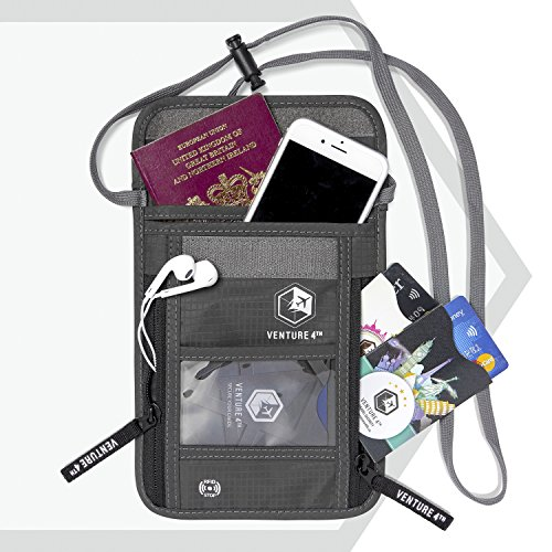 51Zl02lC1JL - Venture 4th Travel Neck Pouch With RFID Blocking - Travel Wallet Passport Holder (Grey)