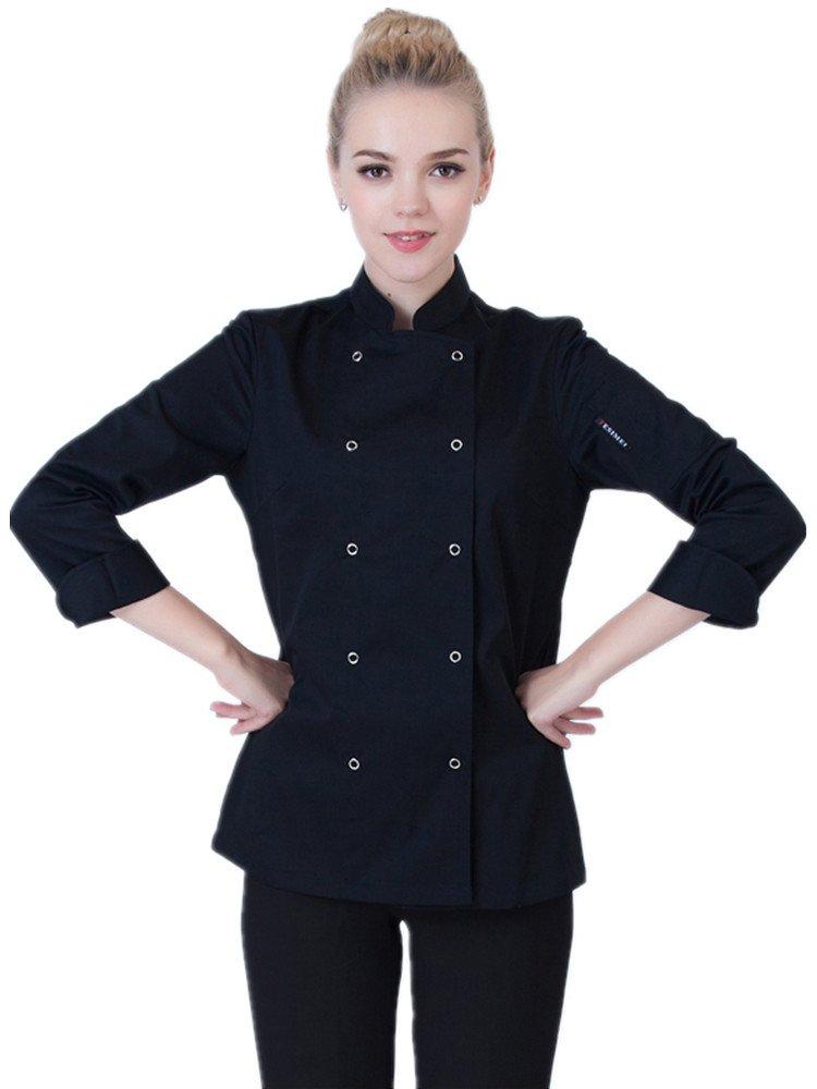 XinAndy Women's Black Chef Coats Long Sleeves Cook Jacket Shirt