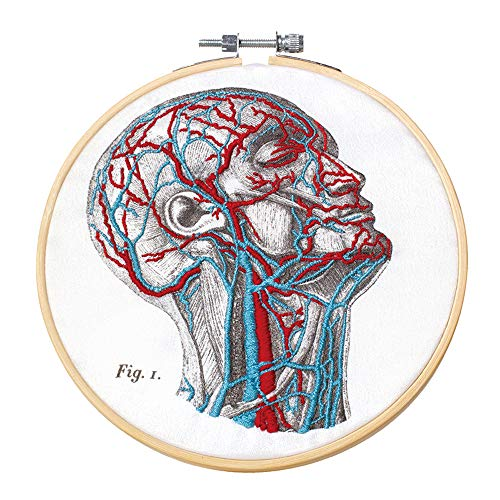 Mr. Sci Science Factory DIY Blood Vessel Embroidery Kit, Including Embroidery Cloth with 2 Pattern on Fabric, Embroidery Hoop, Color Threads and Tools Kit