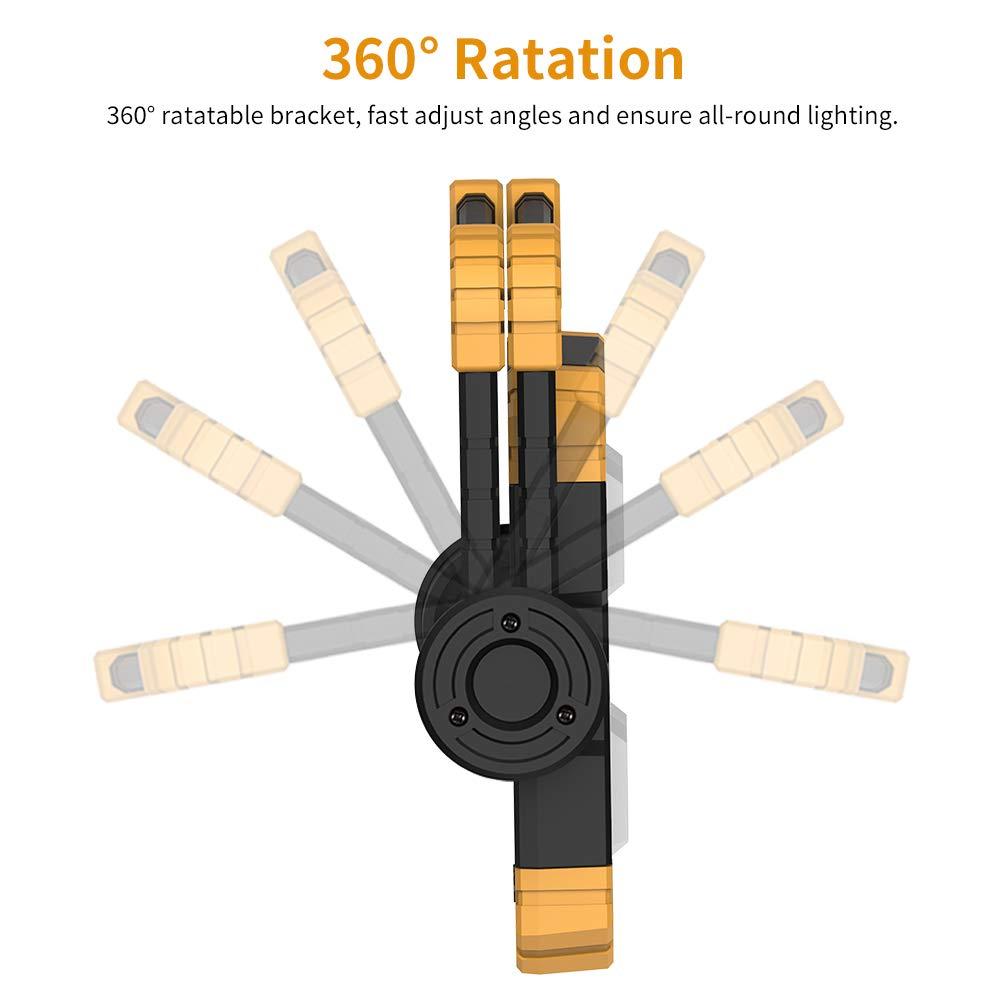 RUNACC LED Luz de trabajo Plegable USB recargable Port/átil Luz de inundaci/ón Soporte Luces de trabajo con rotaci/ón de 360 /°