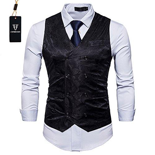 Cyparissus Mens Business Suit Vest Waistcoat Men's Dress Vest or Tuxedo Vest (XXL, Black) by Cyparissus