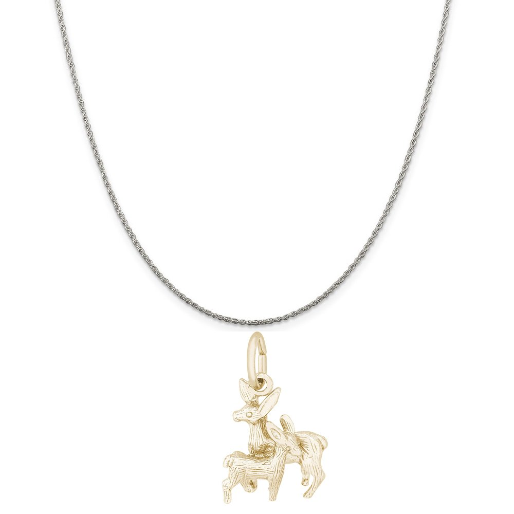 Rembrandt Charms Two-Tone Sterling Silver Deer Doe and Fawn Charm on a Sterling Silver 16 18 or 20 inch Rope Box or Curb Chain Necklace