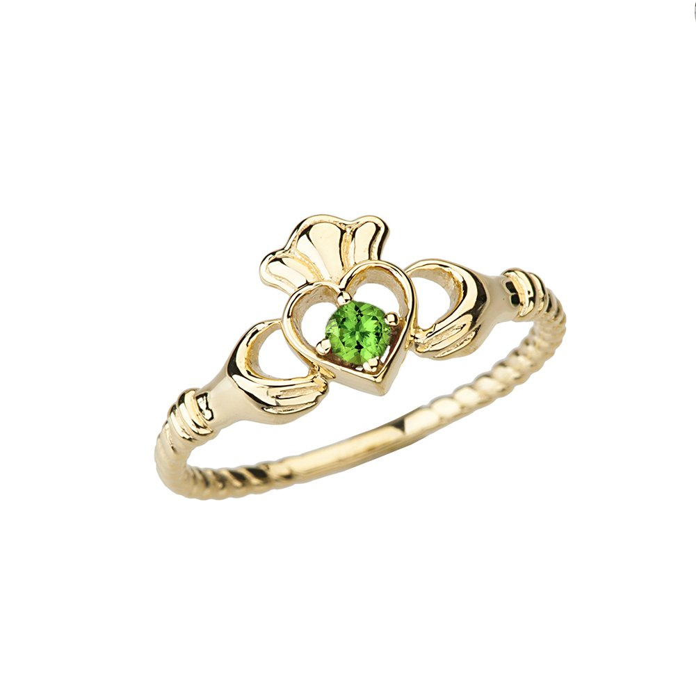 Dainty 14k Yellow Gold Open Heart Solitaire Peridot Rope Claddagh Promise Ring (Size 6)