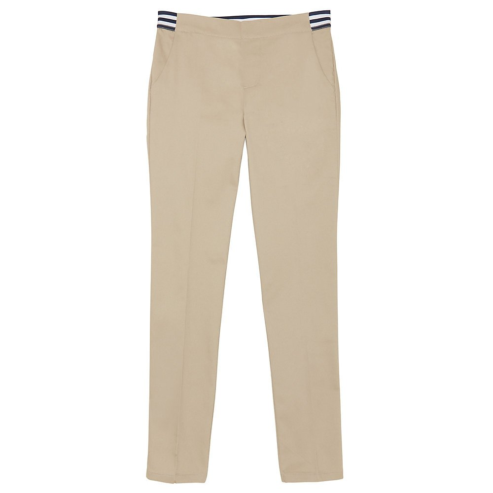 French Toast Girls' Big Stretch Contrast Elastic Waist Pull-on Pant, Khaki, 7