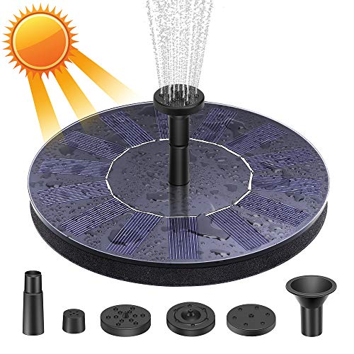 Electop Solar Fountain, Upgraded Solar Powered Bird Bath Fountain Pump Floating Solar Panel Water Pump Fountain Kit for Garden Decoration, Small Pond, Pool, Fish Tank, Aquarium