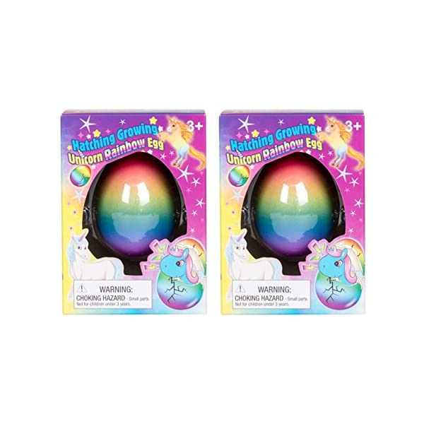 Set of 2 Surprise Growing Unicorn Hatching Rainbow Egg Kids Toys, Assorted Colors 3
