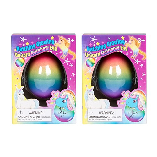 (Set of 2 Surprise Growing Unicorn Hatching Rainbow Egg Kids Toys, Assorted Colors)