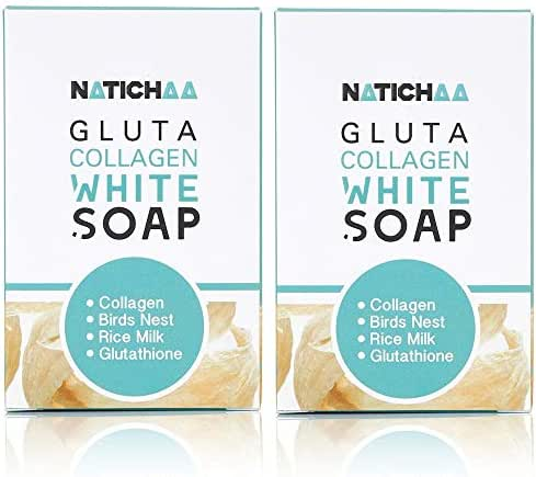 Glutathione & Collagen Whitening Soap ( 2 Pack ) - Reduce Wrinkles, Freckles, Dark Spots & Acne-Firm & Lightening Your Complexion For Body & Facial Skin - All Skin Types