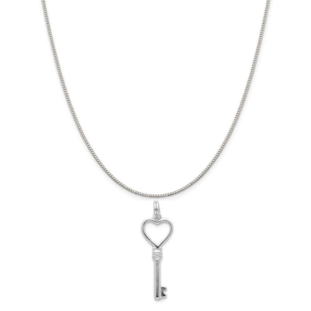 16-20 Mireval Sterling Silver Polished Lock and Key Charm on a Sterling Silver Chain Necklace
